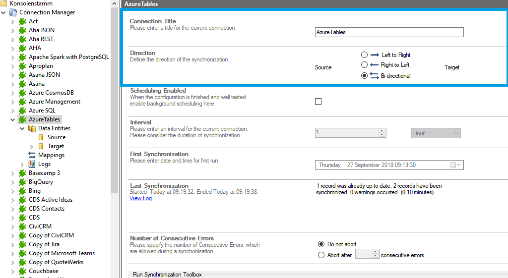 Connection setup for azure tables in the Layer2 Cloud Connector