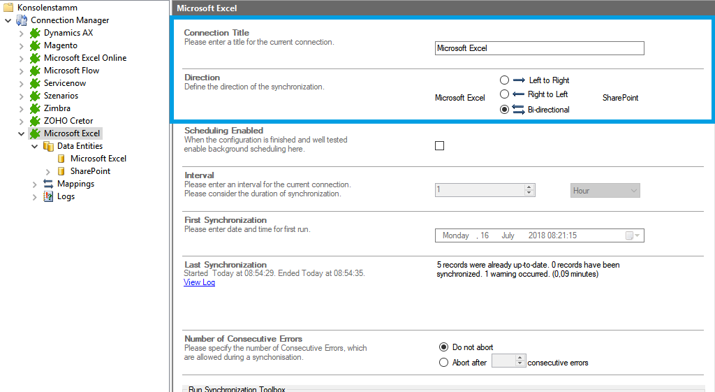 Connection Setup for SharePoint Excel integration in the Layer2 Cloud Connector