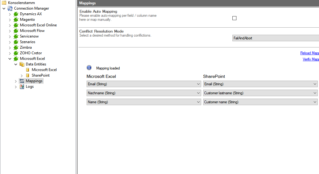Mapping for SharePoint Excel integration in the Layer2 Cloud Connector