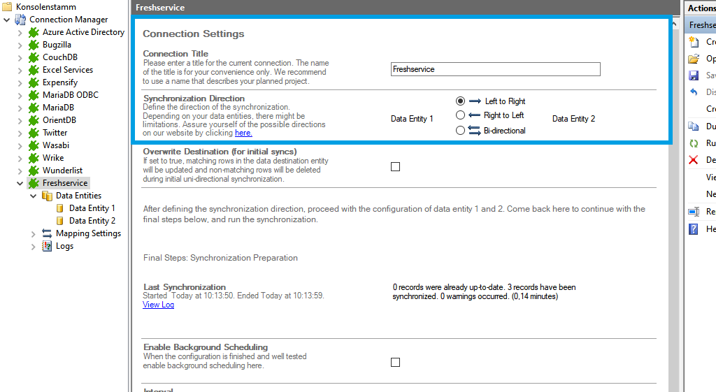 Connection setup for freshservice in the Layer2 Cloud Connector