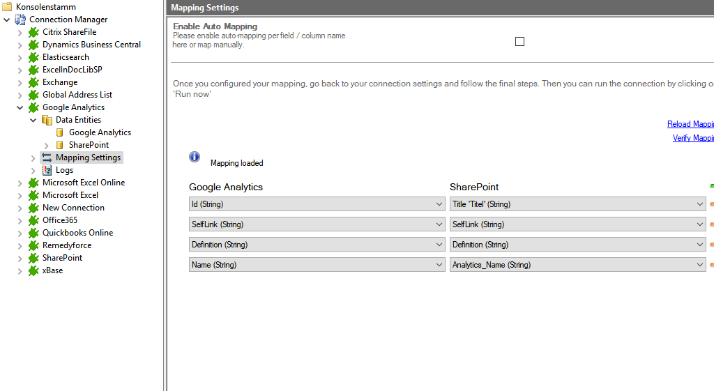 Mapping configuration in the Layer2 Cloud Connector for Google Analytics data integration