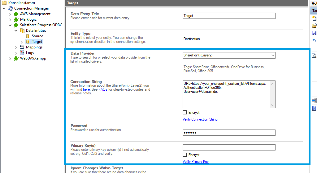 Step 3 Salesforce integration target setup
