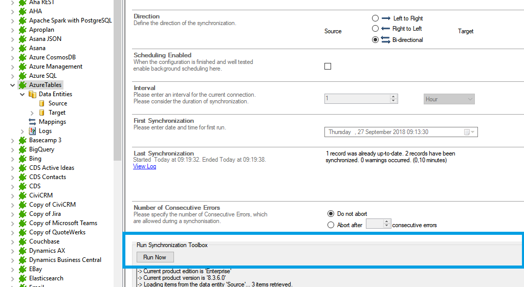 Start the data integration of azure tables