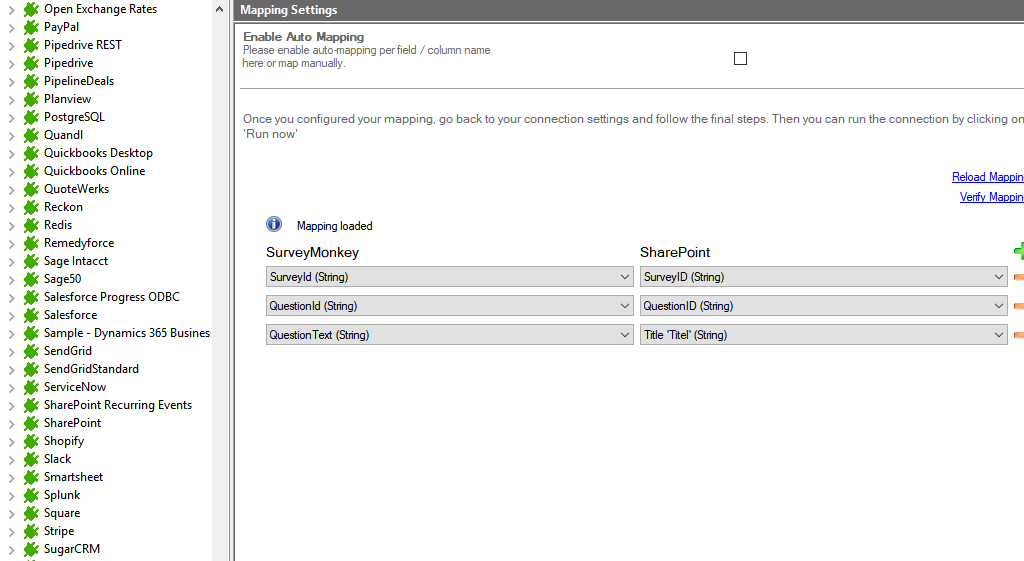 Mapping in the Layer2 Cloud Connector for SurveyMonkey data integration